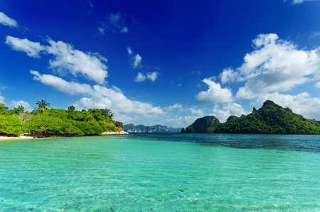 Photo for Tropical beach with blue sky. - Royalty Free Image