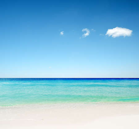 Tropical white sand beach and blue sky.