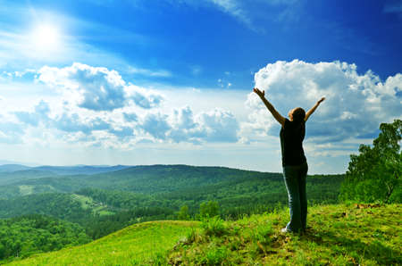 Photo for Young woman enjoying the fresh air. - Royalty Free Image