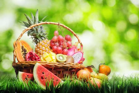 Foto für Basket of tropical fruits on green grass   - Lizenzfreies Bild