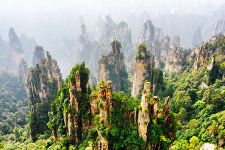 Photo pour Top view of amazing natural quartz sandstone pillars of fantastic shapes among green woods in the Tianzi Mountains (Avatar Mountains), the Zhangjiajie National Forest Park, Hunan Province, China. - image libre de droit