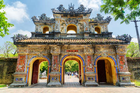 Foto de The East Gate (Hien Nhon Gate) to the Citadel with the Imperial City in Hue, Vietnam. The colorful gate is a popular tourist attraction of Hue. - Imagen libre de derechos