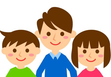 Illustration for Smiling family of three. Father, son and daughter. Upper body. Vector illustration. - Royalty Free Image
