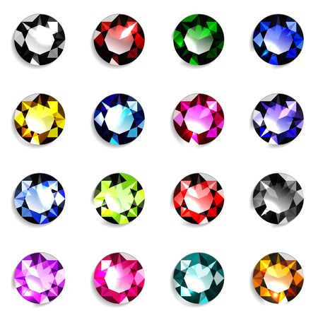 Illustration pour Set of colorful round cut gemstones. Jewels on white background. Vector illustration. - image libre de droit
