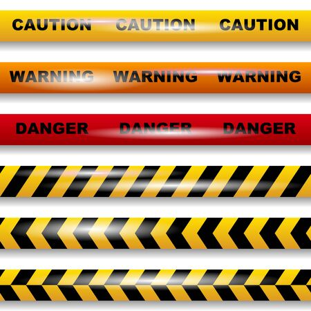 Illustration for Set of seamless caution tapes on white background vector image - Royalty Free Image