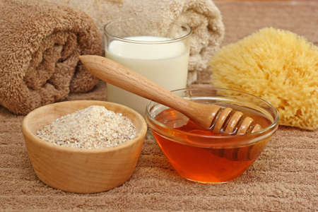 Photo for Oatmeal, milk and honey spa - Royalty Free Image