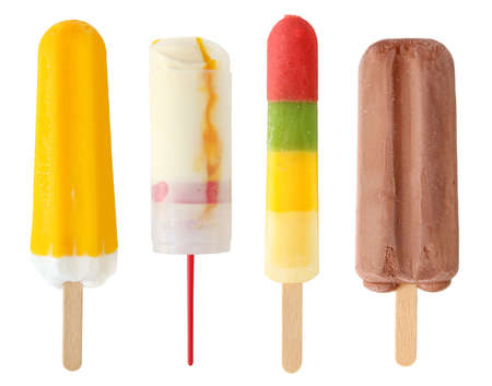 Photo pour Four colorful ice cream isolated on white background  - image libre de droit
