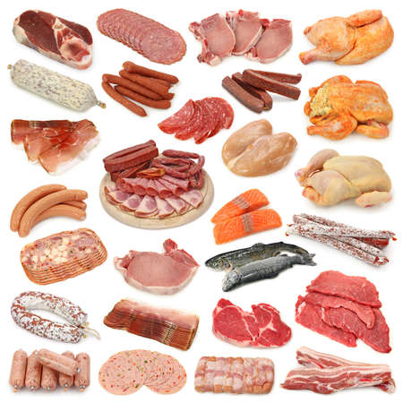 Meat collection isolated on white background
