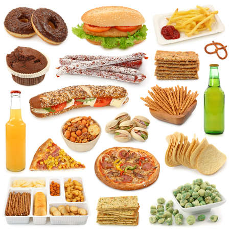 Junk food collection isolated on white background