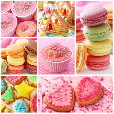 Colorful cakes collage