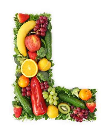 Fruit and vegetable alphabet - letter L