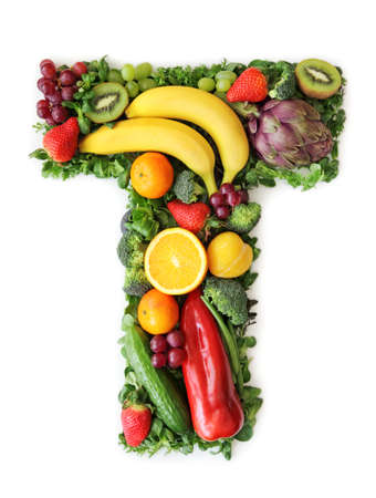 Fruit and vegetable alphabet - letter Tの写真素材