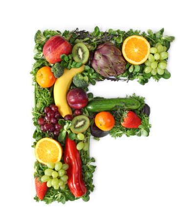 Fruit and vegetable alphabet - letter F