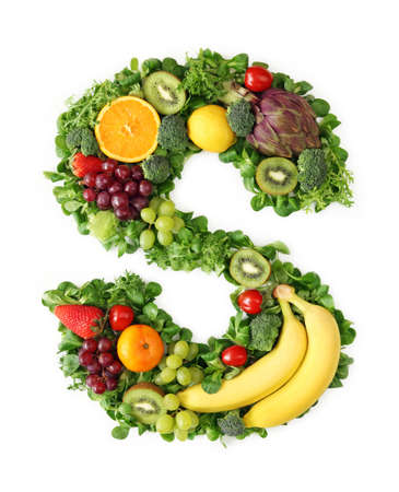 Fruit and vegetable alphabet - letter S