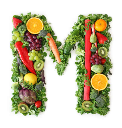 Fruit and vegetable alphabet - letter M