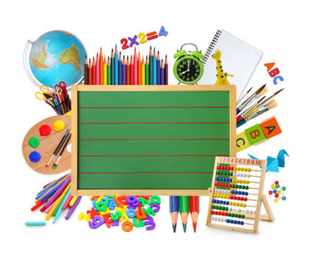 Green chalkboard with school supplies.