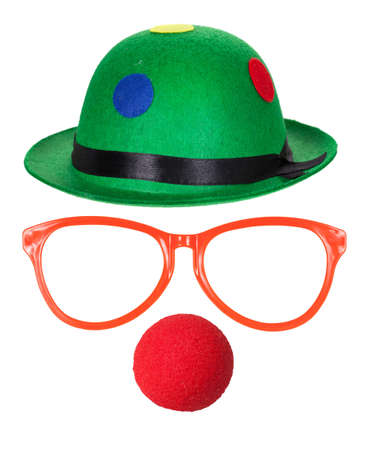 Foto de Clown hat with glasses and red nose isolated on white background - Imagen libre de derechos