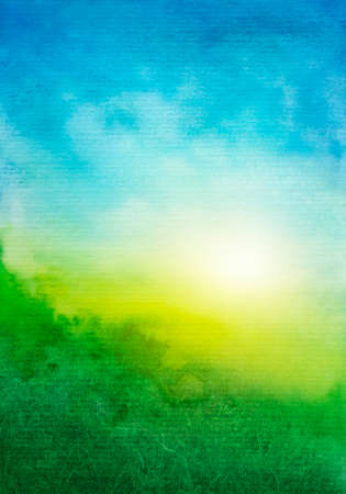 Photo pour Abstract green blue watercolor background - image libre de droit