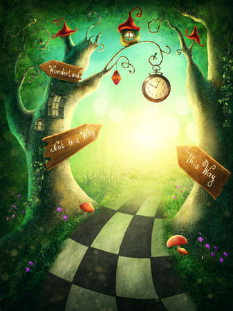 Photo for Enchanted wood with a clock and signs - Royalty Free Image