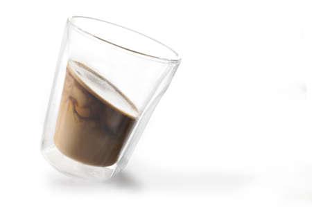 Coffee with milk Studio recording on white background