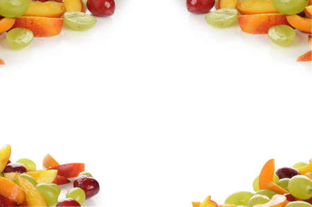 Grapes, nectarines, apricots and cherries small cut and photographed in a studio with white background