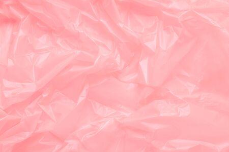 Photo pour Close up Texture of a Pink Plastic garbage Bag. Pink polyethylen - image libre de droit