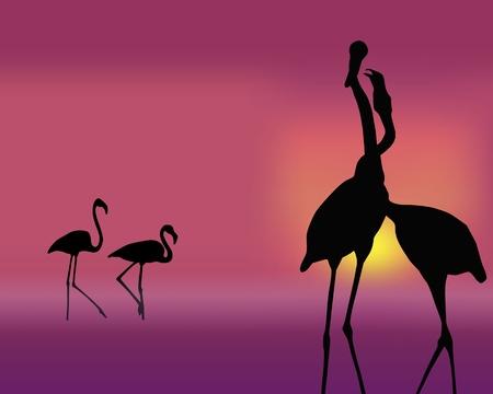 Ilustración de The figure shows a flamingo on a pink background - Imagen libre de derechos
