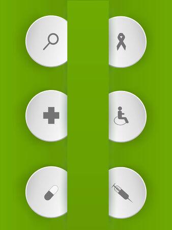 Origami vector Medicine icon set.