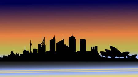 Illustration pour Evening Sydney in silhouette. - image libre de droit