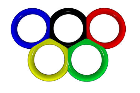 Olympic rings on a white background. Illustration for sports magazines.