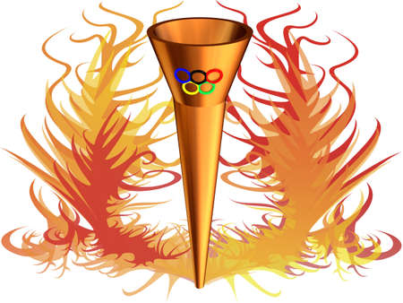 3D the image of Olympic fire with Olympic rings, on a background of a flame.