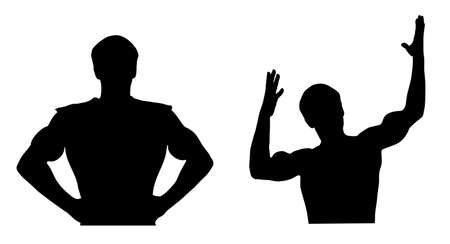 Two silhouettes of the young sportsman of the athlete.