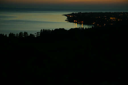 Night sea landscape. View from the mountain