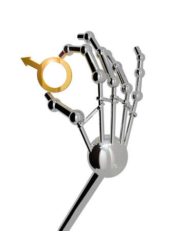 3D render. Hand of robot isolated on white background.