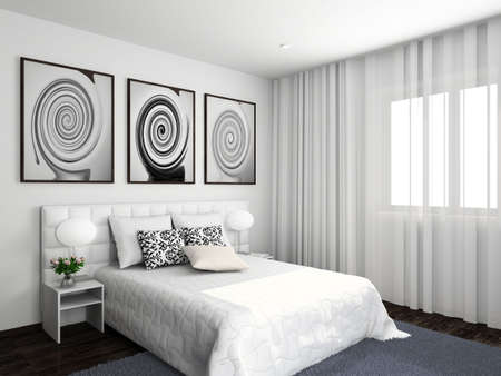 Modern interior. 3D render. Bedroom. Exclusive design.の写真素材