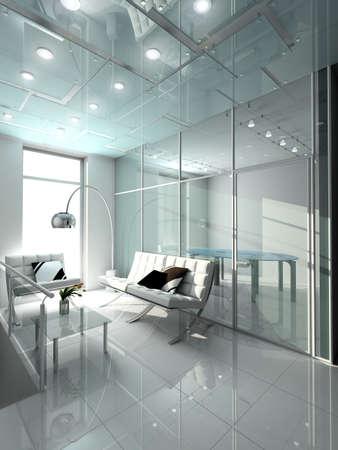 Modern interior. 3D render. Office. Exclusive design.
