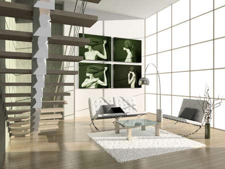 Modern interior with portrait. 3D render. Living-room.