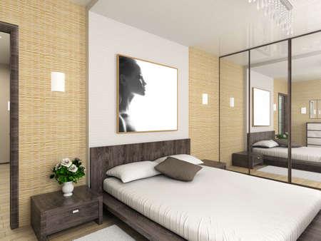 Modern interior. 3D render. Bedroom. Exclusive design.