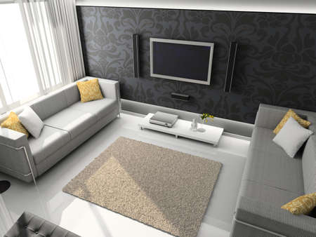 Interioir of modern living-room. 3d render