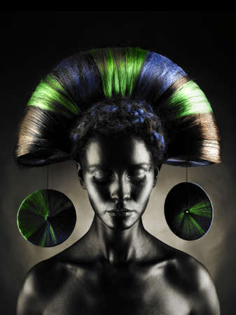 Portrait of a beautiful alien lady with an unusual hairstyle