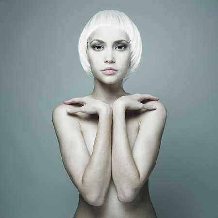 futuristic nude woman with blond hair