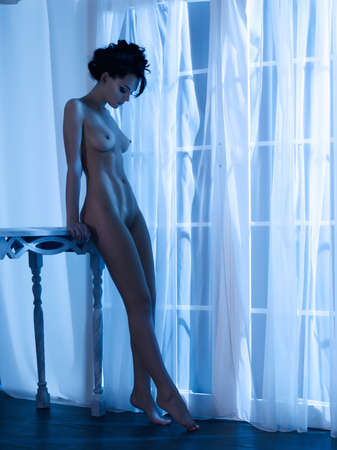 Photo pour Art boudoir fashion photo of nude elegant woman at the window in the moonlight. Perfect body. Beauty and health - image libre de droit