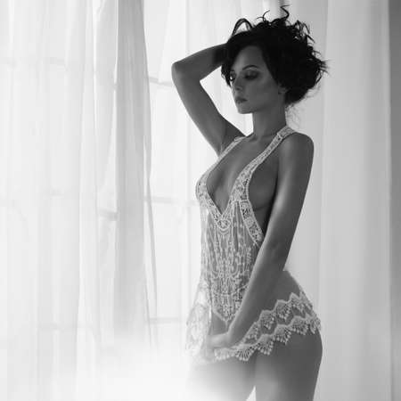 Photo for Art boudoir fashion photo of beautiful gorgeous woman in lingerie at the window. Perfect body. Beauty and health - Royalty Free Image