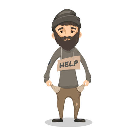 Illustration for Homeless. Shaggy Bearded man in ragged old clothes and with a sign HELP. Poor man without a home and money. Vector cartoon illustration isolated on white background - Royalty Free Image