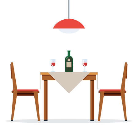 Illustration pour Dining table and chairs with wine - image libre de droit
