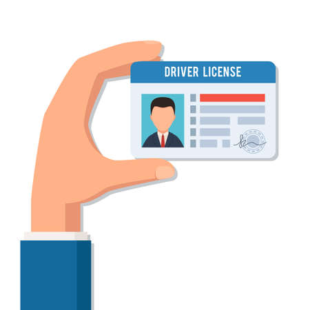 Illustration pour Hand holds a driver license on white background, vector illustration. - image libre de droit
