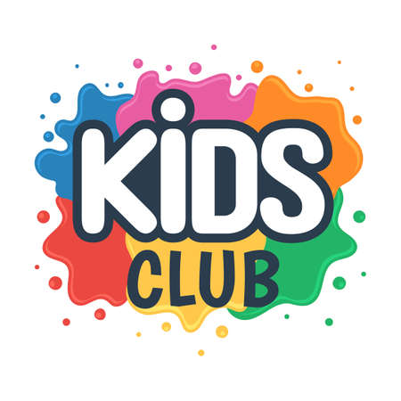 Ilustración de Kids club inscription on the background of colored blots of paints. Children Center for Creative Development sign. Vector illustration isolated on white background - Imagen libre de derechos