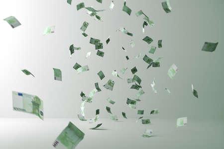 Photo pour Money rain. Flying Money. Flying bills in a room - image libre de droit