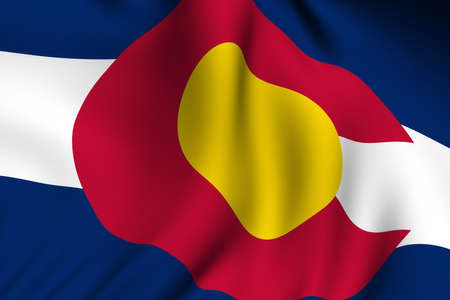 Rendering of a waving flag of the US state of Colorado with accurate colors and design and a fabric texture.