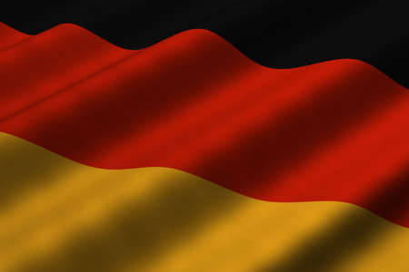 Detailed 3d rendering closeup of the flag of Germany.  Flag has a detailed realistic fabric texture.